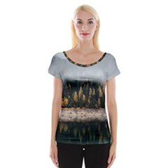 Trees Plants Nature Forests Lake Cap Sleeve Tops