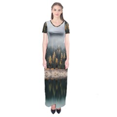 Trees Plants Nature Forests Lake Short Sleeve Maxi Dress