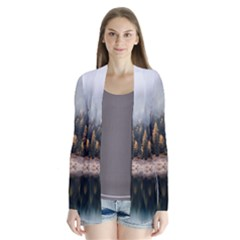 Trees Plants Nature Forests Lake Drape Collar Cardigan