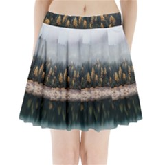 Trees Plants Nature Forests Lake Pleated Mini Skirt