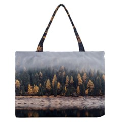 Trees Plants Nature Forests Lake Zipper Medium Tote Bag