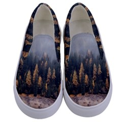 Trees Plants Nature Forests Lake Kids  Canvas Slip Ons