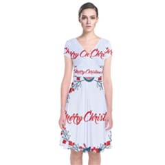 Merry Christmas Christmas Greeting Short Sleeve Front Wrap Dress