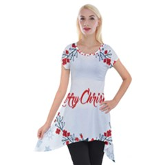 Merry Christmas Christmas Greeting Short Sleeve Side Drop Tunic