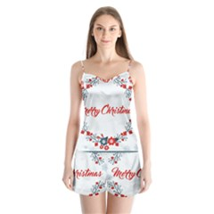 Merry Christmas Christmas Greeting Satin Pajamas Set