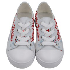 Merry Christmas Christmas Greeting Kids  Low Top Canvas Sneakers