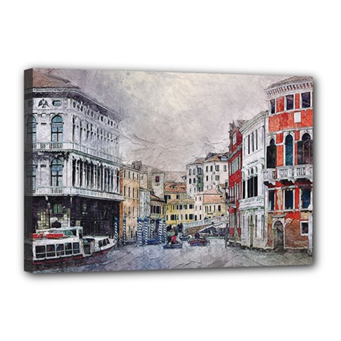 Venice Small Town Watercolor Canvas 18  X 12