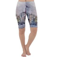 Venice Small Town Watercolor Cropped Leggings