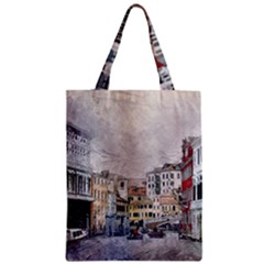 Venice Small Town Watercolor Zipper Classic Tote Bag