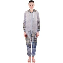 Venice Small Town Watercolor Hooded Jumpsuit (ladies)