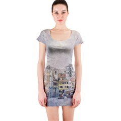 Venice Small Town Watercolor Short Sleeve Bodycon Dress