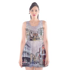 Venice Small Town Watercolor Scoop Neck Skater Dress