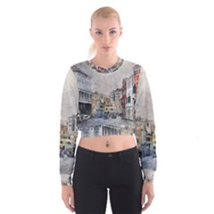 Venice Small Town Watercolor Cropped Sweatshirt