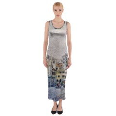 Venice Small Town Watercolor Fitted Maxi Dress
