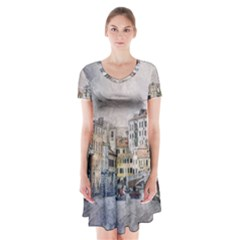 Venice Small Town Watercolor Short Sleeve V Neck Flare Dress