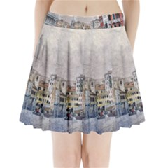 Venice Small Town Watercolor Pleated Mini Skirt