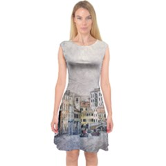 Venice Small Town Watercolor Capsleeve Midi Dress