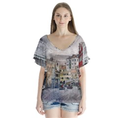 Venice Small Town Watercolor V Neck Flutter Sleeve Top
