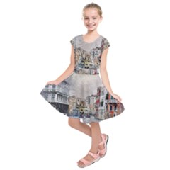 Venice Small Town Watercolor Kids  Short Sleeve Dress