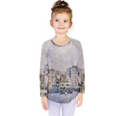 Venice Small Town Watercolor Kids  Long Sleeve Tee