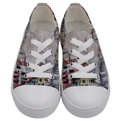 Venice Small Town Watercolor Kids  Low Top Canvas Sneakers