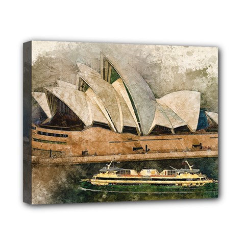 Sydney The Opera House Watercolor Canvas 10  X 8