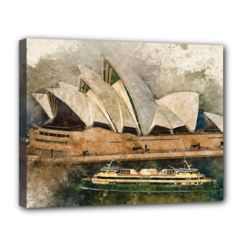 Sydney The Opera House Watercolor Canvas 14  X 11