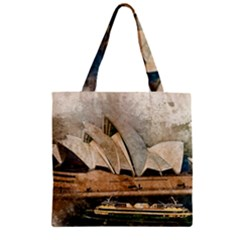 Sydney The Opera House Watercolor Zipper Grocery Tote Bag