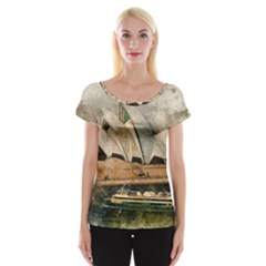 Sydney The Opera House Watercolor Cap Sleeve Tops