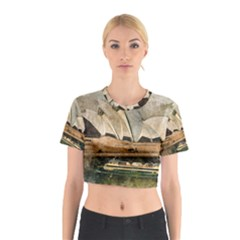 Sydney The Opera House Watercolor Cotton Crop Top