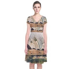 Sydney The Opera House Watercolor Short Sleeve Front Wrap Dress