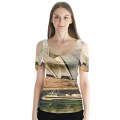 Sydney The Opera House Watercolor Butterfly Sleeve Cutout Tee