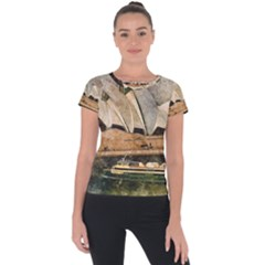 Sydney The Opera House Watercolor Short Sleeve Sports Top