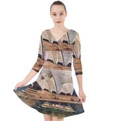 Sydney The Opera House Watercolor Quarter Sleeve Front Wrap Dress