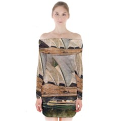 Sydney The Opera House Watercolor Long Sleeve Off Shoulder Dress