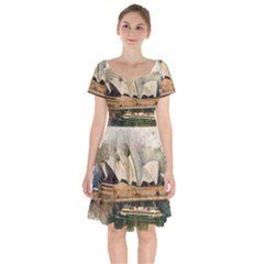 Sydney The Opera House Watercolor Short Sleeve Bardot Dress