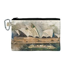 Sydney The Opera House Watercolor Canvas Cosmetic Bag (medium)