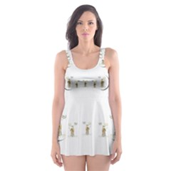 Angels Under The  Sun And Peace Doves Skater Dress Swimsuit