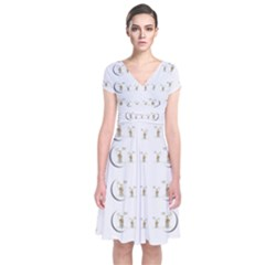 Angels Under The  Sun And Peace Doves Short Sleeve Front Wrap Dress