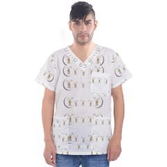 Angels Under The  Sun And Peace Doves Men s V Neck Scrub Top