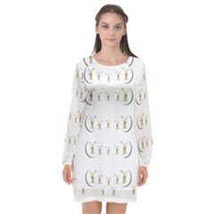 Angels Under The  Sun And Peace Doves Long Sleeve Chiffon Shift Dress