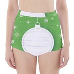 Christmas Bauble Ball High Waisted Bikini Bottoms