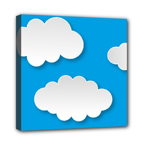 Clouds Sky Background Comic Mini Canvas 8  X 8