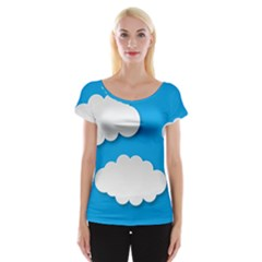 Clouds Sky Background Comic Cap Sleeve Tops