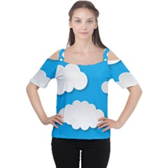 Clouds Sky Background Comic Cutout Shoulder Tee