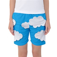 Clouds Sky Background Comic Women s Basketball Shorts