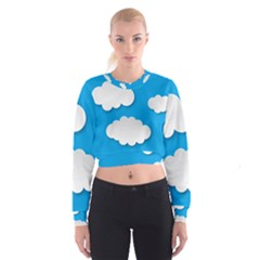 Clouds Sky Background Comic Cropped Sweatshirt