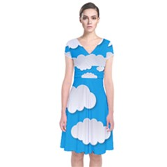 Clouds Sky Background Comic Short Sleeve Front Wrap Dress