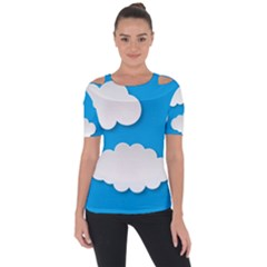 Clouds Sky Background Comic Short Sleeve Top