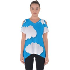 Clouds Sky Background Comic Cut Out Side Drop Tee